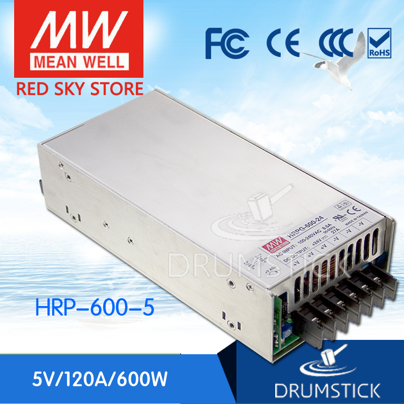 Hot sale MEAN WELL HRP-600-5 5V 120A meanwell HRP-600 5V 600W Single Output with PFC Function Power Supply best selling mean well hrp 200 7 5 7 5v 26 7a meanwell hrp 200 7 5v 200 3w single output with pfc function power supply