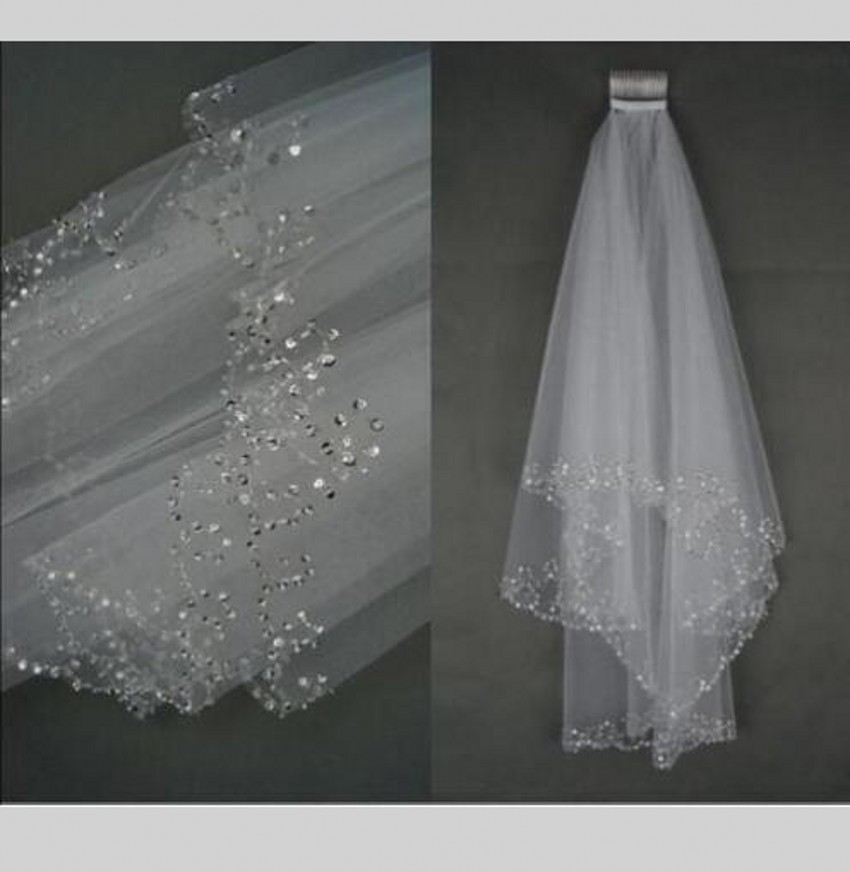 Sparkle Two Layer Short Wedding Veil White Beaded Edge Elbow Length Soft Tulle Accessoire Mariage Bridal Veils With Comb