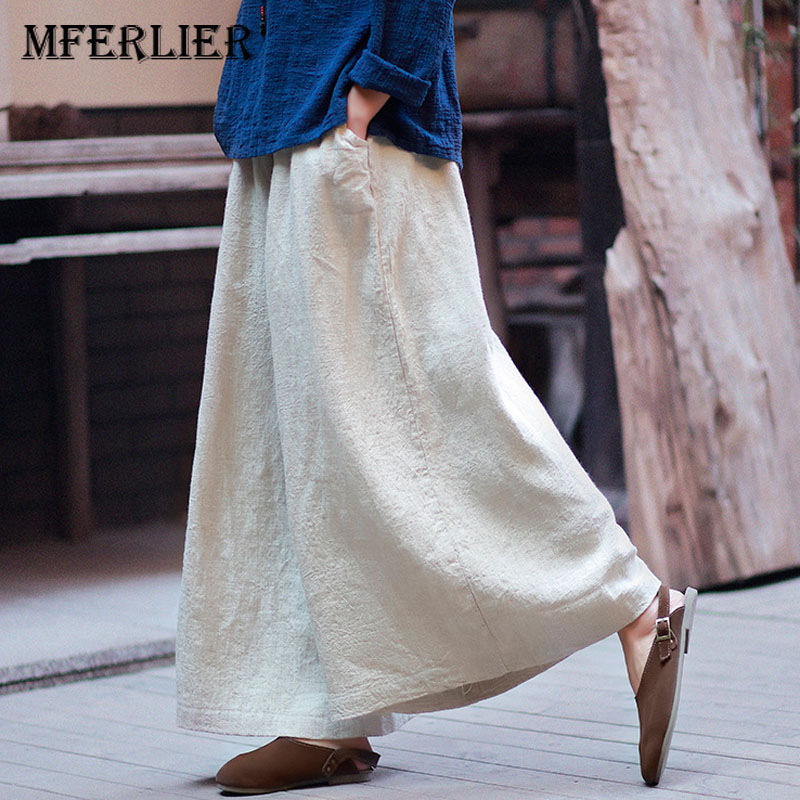 Summer Autumn Long   Pants   Linen Women   Wide     Leg     Pants   Beige Elastic Waist Vintage Casual Women   Pants