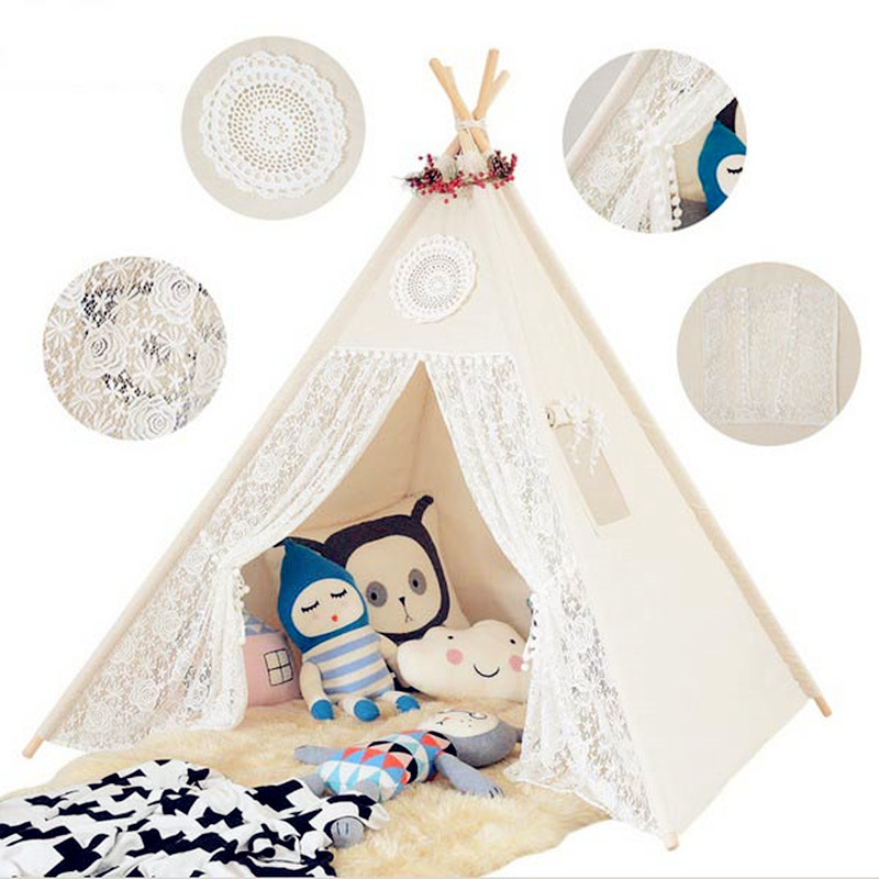 Four Poles Children Teepees Lace Cream Tent For Girls Kids Play Tent Cotton & Lace Tipi For 0-12 Baby Ins Hot 116*116*145cm mrpomelo four poles kids play tent 100