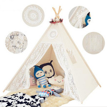 Four Poles Children Teepees Lace Cream Tent For Girls Kids Play Cotton & Tipi 0-12 Baby Ins Hot