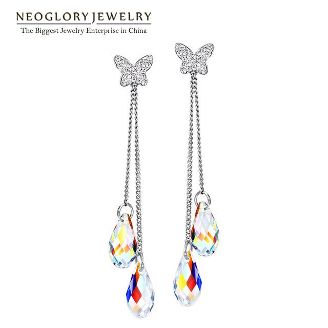 Jóias neoglory transparente feito com swarovski elements brincos de cristal borboleta moda para as mulheres 2017 novos presentes t1