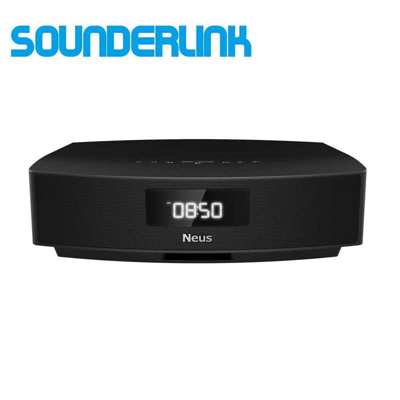 Sounderlink Neusound Neus sistema di altoparlanti Hi-fi Bluetooth soundbar soundbase home theater per camera da letto TV con FM alarm Clock