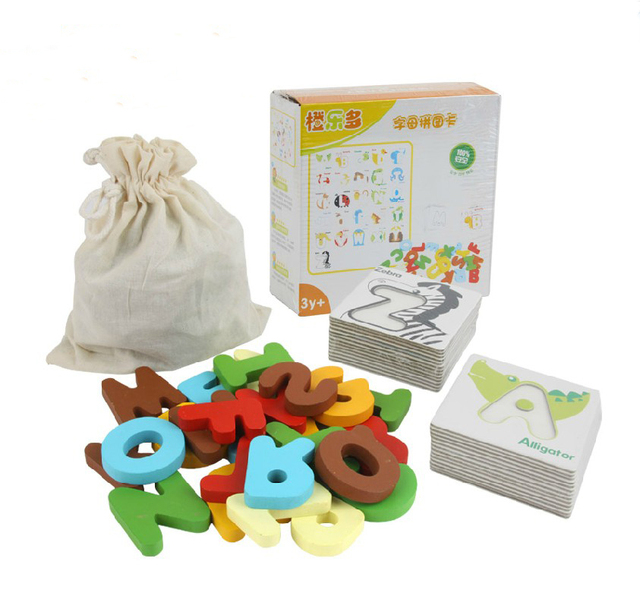 3D Alphabet Puzzle Colorful Wooden Letter Kids Educational Toy