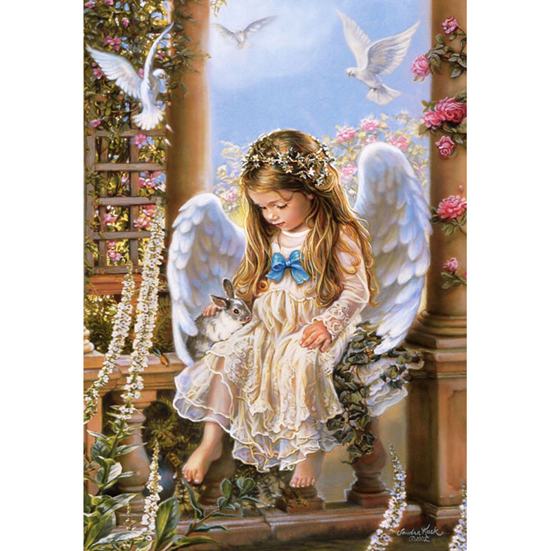 5D DIY diamond painting angle baby girl wings full drill square round diamond embroidery cross stitch rhinestone mosaic picture