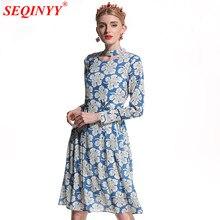 c76f4f64d8 SEQINYY Moda Primavera Verão 2018 Vestido de Alta Qualidade Runway Bordados  Emendado Malha Azul Flores Brancas Impresso Vestido .