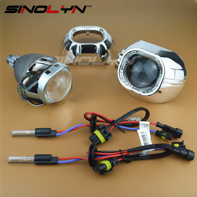 SINOLYN Metal Square HID Q5 Bi-xenon Projector Lens LED Angel Eyes for Headlight Retrofit Headlamp Lenses H1 H4 H7 9006 9005 HB3 стоимость