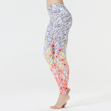 Fashion Printed Patchwork Women Fitness Leggings Breathable Sporting Dry Quick Pants Squat Not Transparent