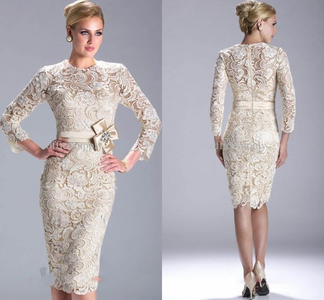 2015 New Fashion Long Sleeve Sheath Knee-Length Lace Evening Gown Mother of the Bride Dresses