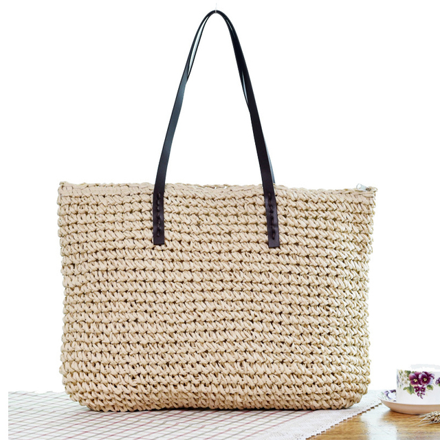 Women Handbag Summer Beach Bag Rattan Woven Handmade Knitted Straw Large Capacity Totes Leather Women Shoulder Bag Bohemia New 2