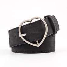HUOBAO New Heart-shaped Alloy Pin Buckle Belts For Women Black Punk Waist Jeans Waistband ceinture femme