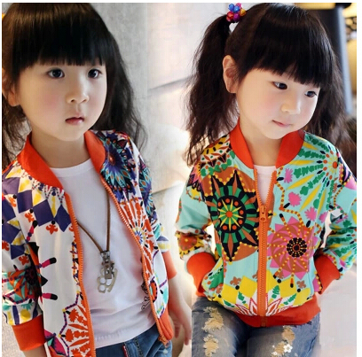 New 2014 fashion girls spring summer  clothing outerwear  Sun flower   Zipper cardigan  Sunscreen coat Free shipping