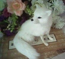 En plastique et réel fourrures jouet simulation renard blanc 16×14 cm accroupi renard modèle, artisanat, décoration de la maison cadeau De Noël w5687