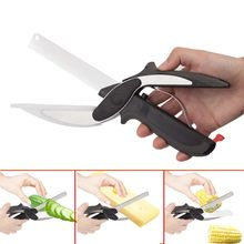 2 In 1 Kitchen Knives Kitchen Meat Scissors Knife&Board Stainless Steel Kitchen Knife Meat Potato Cheese Vegetable Cutter(China)