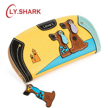 LY SHARK Cartoon dog women purse bag designer wallets famous brand women wallet long money clip