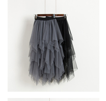 2019 Spring and summer new style New irregular skirt Fluffy mesh High waist gauze fairy