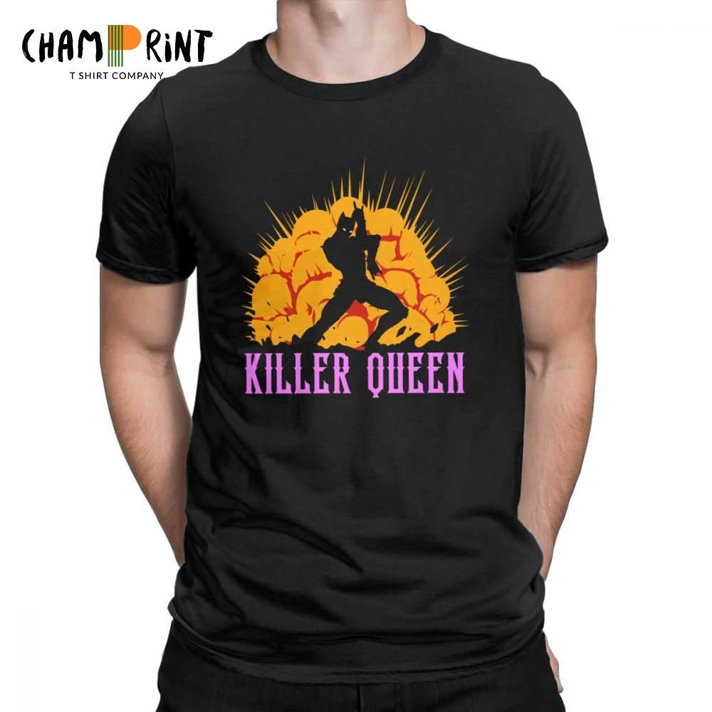 Killer Queen   T     Shirts   for Men Jojo Bizarre Adventure High Quality Clothes Short Sleeve Novelty   T  -  Shirt   Crewneck Cotton Tee   Shirt