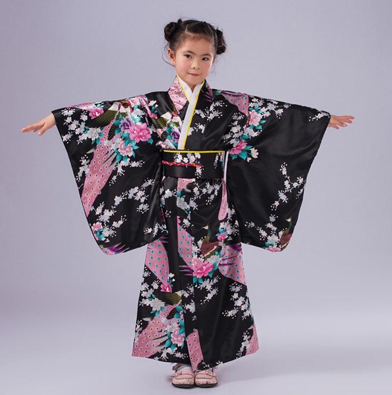Black Japanese National Baby Girl Kimono Dress Children