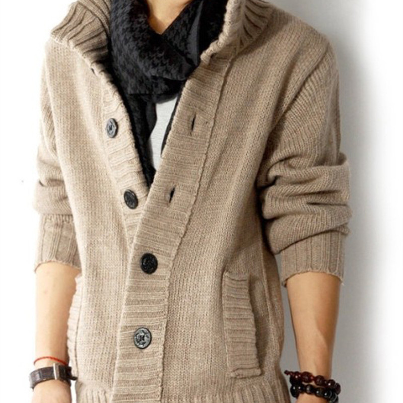 New!Korean Mens slim fit cardigan sweaters button knitted cardigan slim wool Casual men  ...