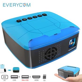 Everycom U20 Mini projektory USB HDMI AV wideo przenośny projektor do kina domowego film Beamer projektor Portatil
