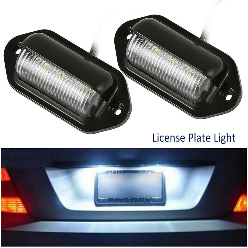 2pcs Universal 6LED License Number Plate Light Lamps for Car Truck SUV Trailer Lorry Buses Trailers Trucks Off road Vehicles in License Plate from Automobiles Motorcycles