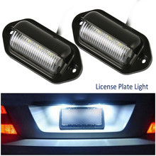2pcs Universal 6LED License Number Plate Light Lamps for Car Truck SUV Trailer Lorry Buses/Trailers/Trucks/Off-road Vehicles