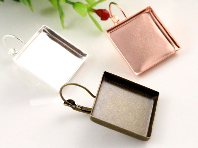 20mm 10pcs/lot 3 Colors Plated Square Style French Lever Back Earrings Blank/Base,fit 20mm Square glass cabochons mibrow 10pcs lot stainless steel 8 10 12 14 16 18 20mm blank french lever earring tray cabochon setting cameo base jewelry