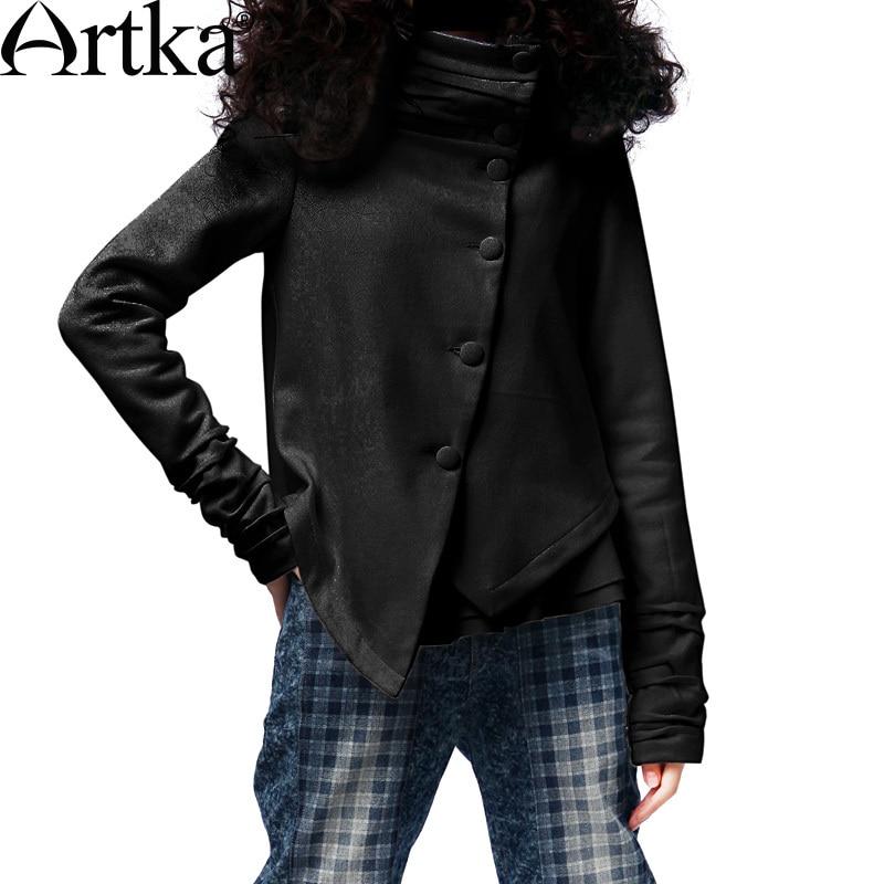 ARTKA Women S Autumn Casual Mandarin Collar Full Sleeve Solid Single Breasted Slim Waist Asymmetric Short
