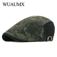 Wuaumx Spring Autumn Camouflage Berets Hats Men Women Herringbone Caps Washed Cotton Newsboy Cap Cabbie Ivy Flat Hat Adjustable