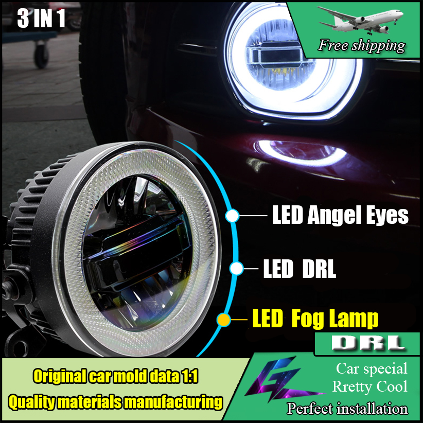 Car-styling LED Angel Eyes Daytime Running Light DRL Fog Lamp For Ford C-MAX 2013-2016 LED Angel Eyes Fog Light DRL 3in1 cdx car styling angel eyes fog light for asx 2013 year led fog lamp led angel eyes led fog lamp accessories