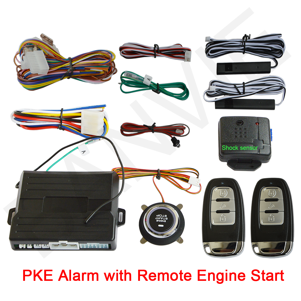 Universal PKE Car Alarm System with Engine Start / Stop Push Button and Engine Start passive Keyless Entry with SHOCK Senor kowell hopping code pke car alarm system w passive keyless entry remote engine start stop push button power ignition switch