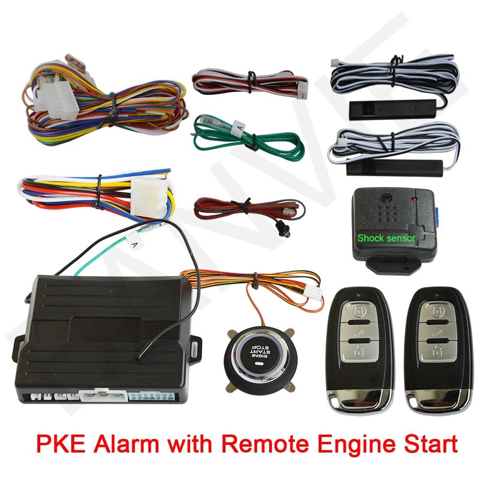 купить Universal PKE car alarm system with Engine start stop push button and engine start passive keyless entry with shock senor онлайн