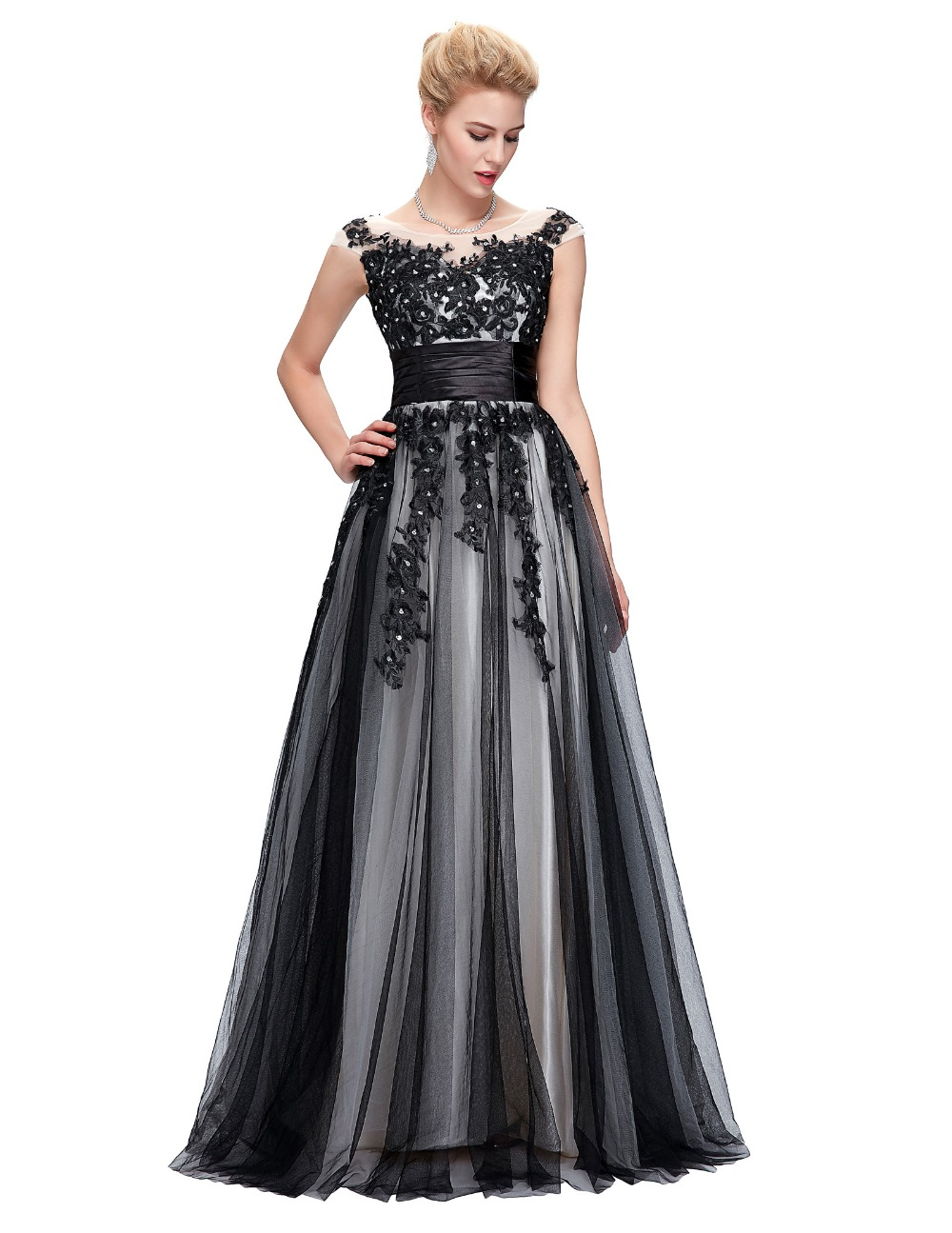 93d9cc143f Robe de Soiree Longue Sexy Lace Applique Evening Dresses Long Ball Gown  Luxury Black Evening Dress for Women 2017 Cap Sleeve-in Evening Dresses  from ...