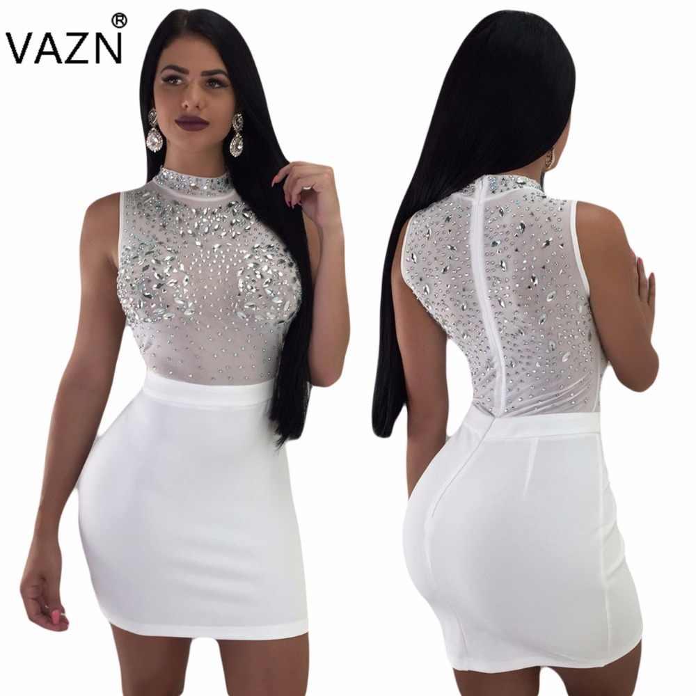 VAZN 2018 Summer Design Hot Women Solid 3 Colors Mini Dress Ladies  Turtleneck Sleeveless Dress Hollow b973721e1