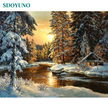 SDOYUNO Sunset Snow View Cottage Painting By Numbers Winter DIY Framed Coloring by numbers Acrylic On Canvas For Unique Gift