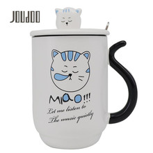 JOUDOO 450ml Cute Cat Ceramics Coffee Mug with Lid and Spoon Large Capacity Animal Mugs Creative Drinkware 35