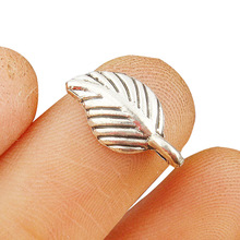 TJP 50pcs Antique Silver Tone Leaf Charms Pendants Beads for Necklace Bracelet Earring Jewelry Making Findings 15x7mm