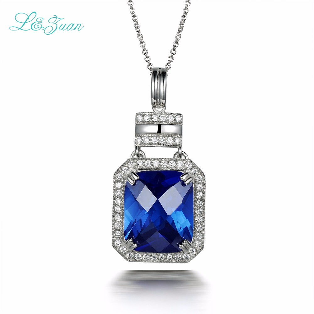 l&zuan 925 silver Sapphire Woman pendant Trendy Bottle 10ct blue gemstone Sweater chain wedding necklace Fine jewelry