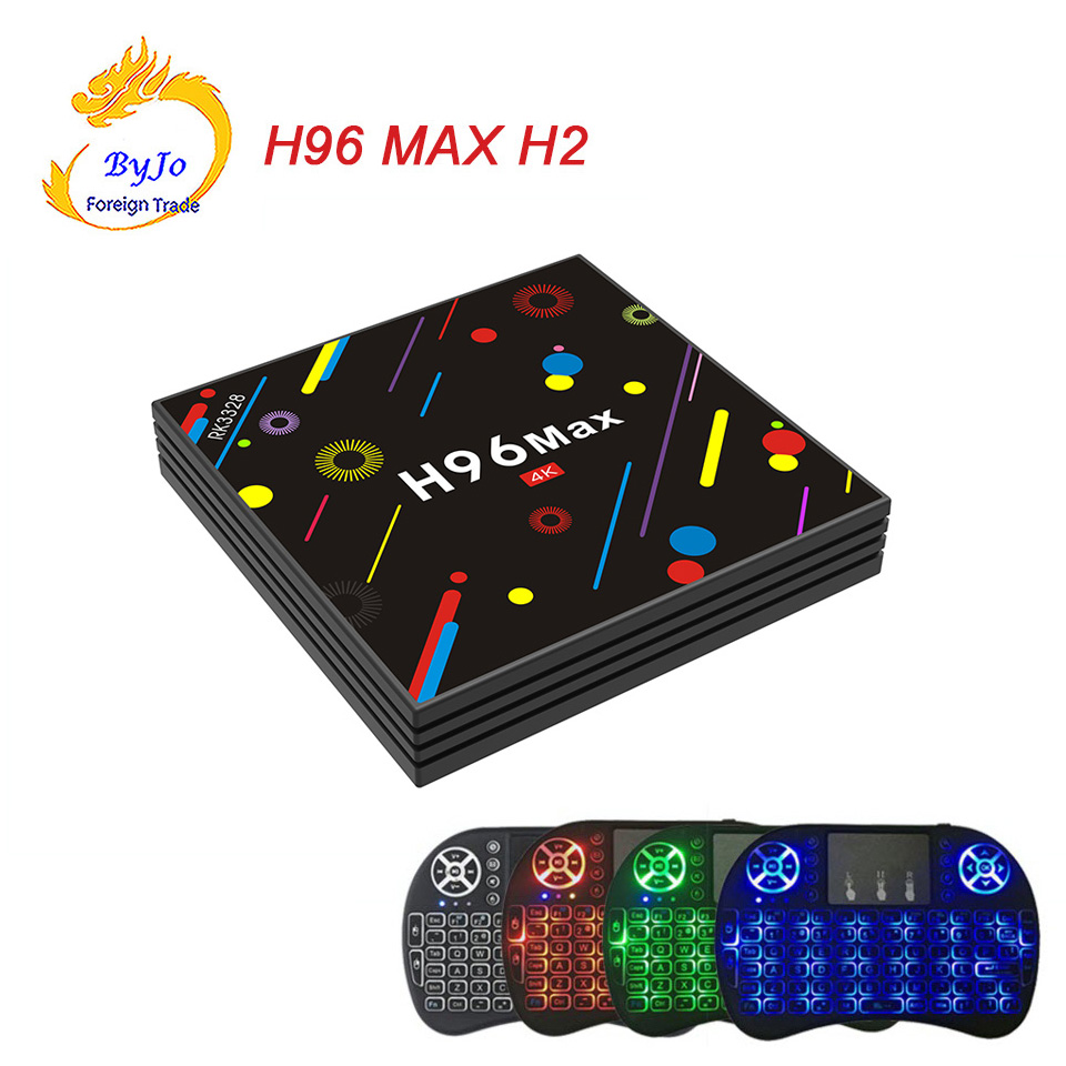 H96 MAX H2 Android 7.1 smart TV box With wireless keyboard Rockchip RK3328 Quad-core 4GB RAM 32 ROM Support H.265 UHD BT 4K h96 max 4gb ram 64g rom android 7 1 smart tv box 2 4g 5g wifi rockchip rk3328 quad core support h 265 bt4 0 4k pk tx9 pro x92
