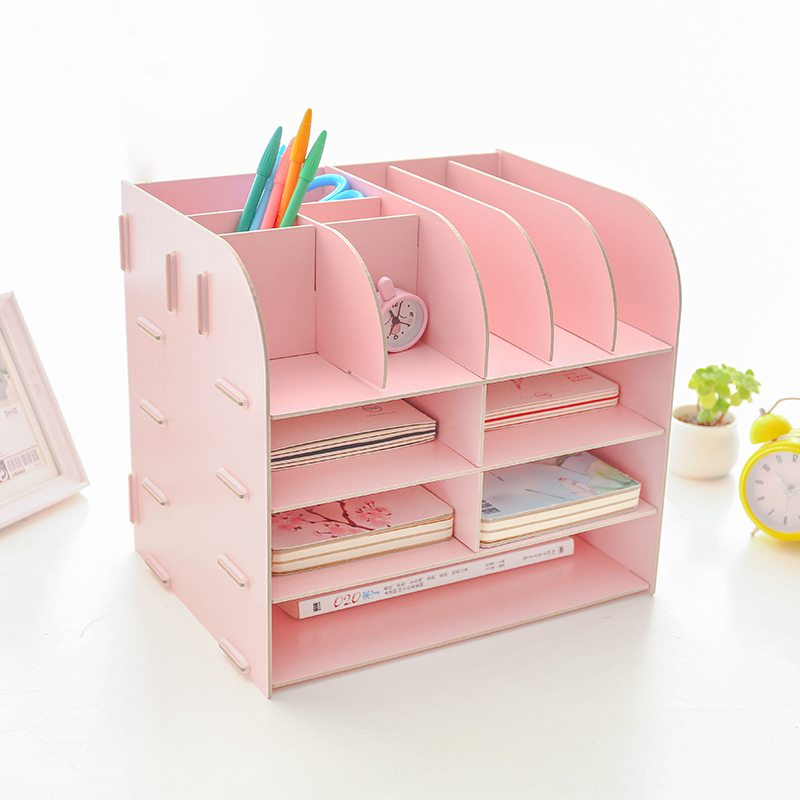 цена на Creative Office Desk Sets Multifunctional Desk Organizer Desk Accessories File Cabinet Rack Wooden Book Document Storage Box