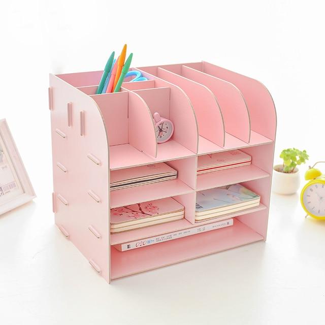 Creative Office Desk Sets Multifunctional Desk Organizer Desk Accessories  File Cabinet Rack Wooden Book Document Storage