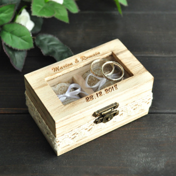 Personalised Wedding Ring Box Double Ring Box Rustic Jewelry Box Wedding Ring Holder 1