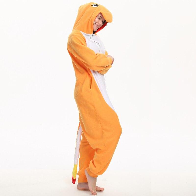 Cute Pokemon Charizard Onesie Adult  Pajamas Cartoon Animal Orange Dragon Costume Women Men Party Winter Warm Pyjama Sleepwear (1)