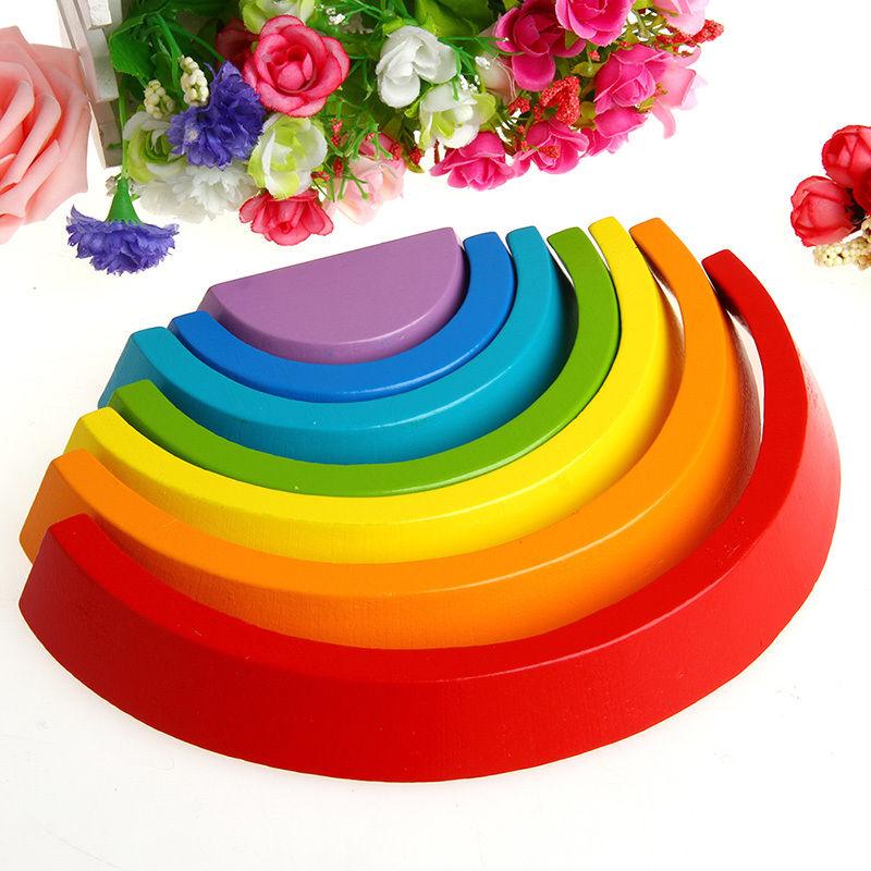 New 1Set 7Pcs Colorful Wood Rainbow Building Blocks Baby Intellectual Development Toys