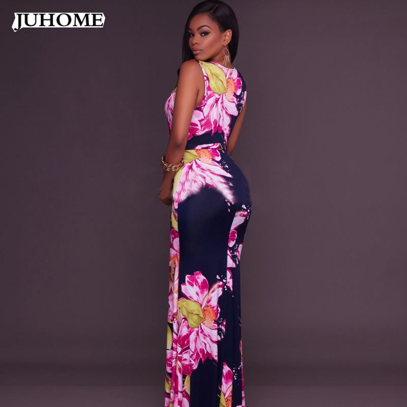 2017 Summer style large size Womens Clothing high quality fashion Floral Printed sundress Long Dress Maxi Pencil Dress Vestidos
