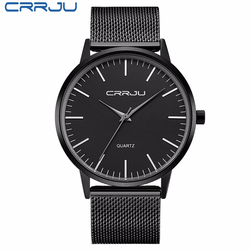 New Fashion top luxury brand CRRJU watches men quartz-watch stainless steel mesh strap ultra thin dial clock relogio masculino