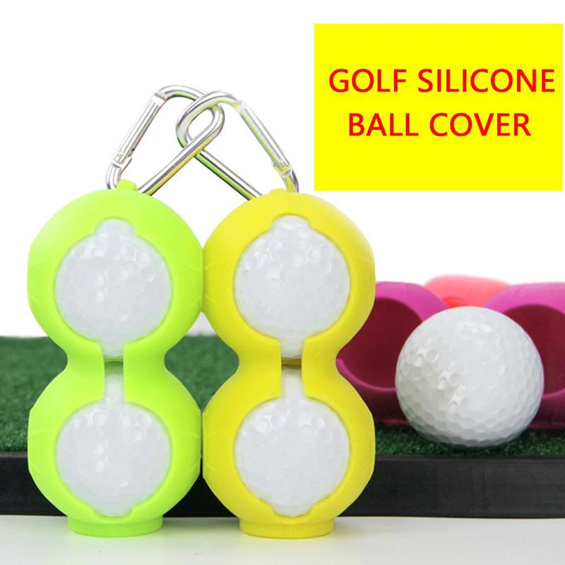 Golf Ball Protective Cover Soft Silicone Waist Holder Sleeve Storage Bag Keyring Golfing Accessories For 2Balls