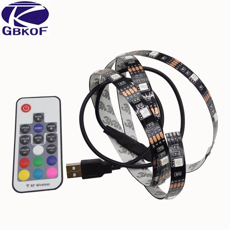 GBKOF DC 5V USB LED Strip 5050 Waterproof RGB LED Light Flexible 50CM 1M 2M Add 3 17Key Remote For TV Background Lighting