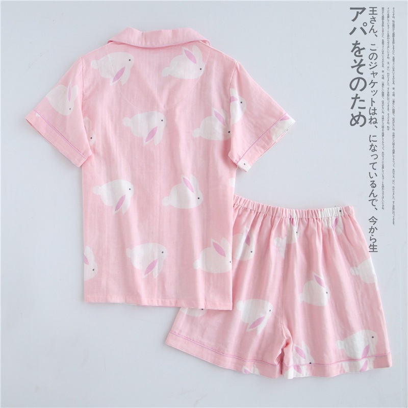 Women sweet pajamas sets with white and pink cute rabbits printed cotton fashion turn-down collar women pajama sets hot selling