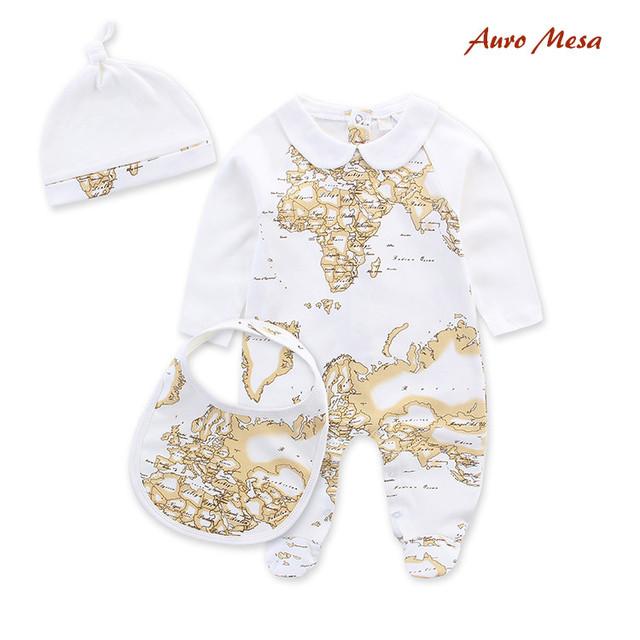 Nova Marca 100% Algodão bebê Romper roupas Recém-nascidos Roupas Bebes Infantil Macacões de bebê Romper + Bib + chapéu